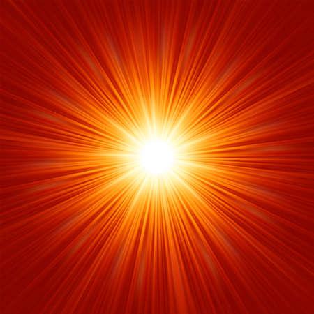 explosie: Star burst rood en geel brand