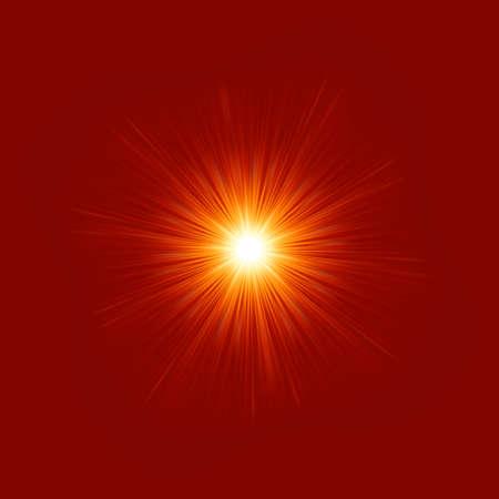 별은 빨간색과 노란색 불 버스트