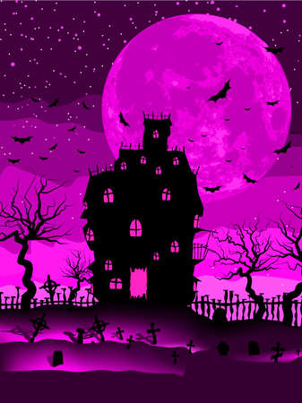 scary story: Scary halloween vector with magical abbey  EPS 8 vector file included Illustration