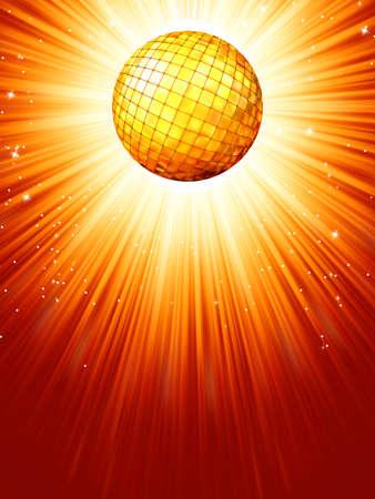 70s disco: Sparkling orange red disco ball