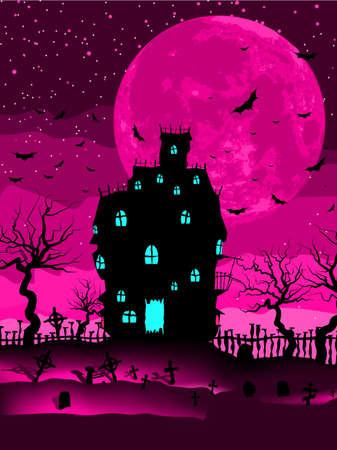Halloween invitation or background with spooky castle and bats   Vector