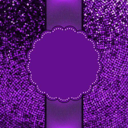 Violet glitter sparkles snow flakes background Vector