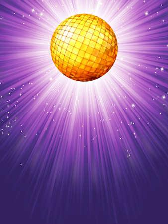 Purple disco rays with stars  Illustration