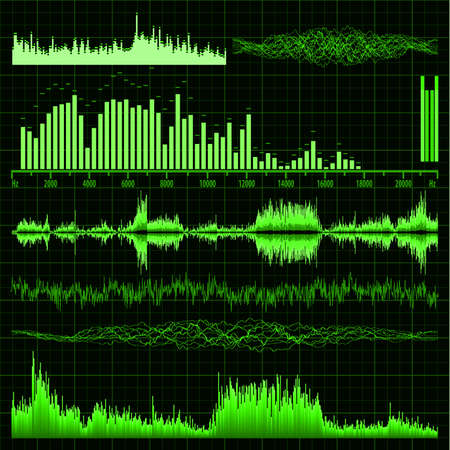 Sound waves set  Music background file included Vector