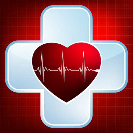 surgery concept: Heart and heartbeat symbol  Illustration