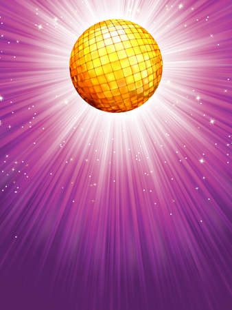 dancefloor: Purple disco rays with stars   Illustration