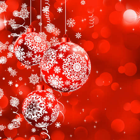 christmas flake: Christmas bokeh background with baubles. Illustration