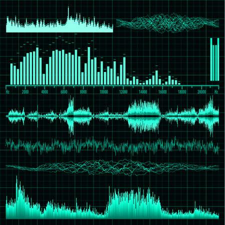 Las ondas de sonido fijado fondo de la música Ilustración de vector