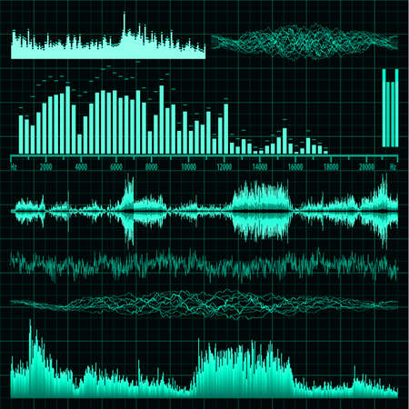 Sound waves set  Music background  Vector