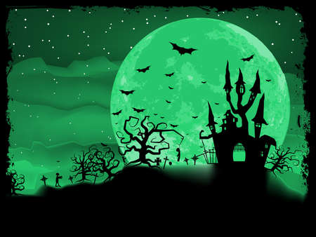 monsters house: Halloween poster with zombie background