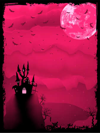 Pink spooky halloween composition with horror house and popular holiday attributes   Vector