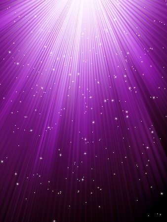 estrellas moradas: La nieve y las estrellas est�n cayendo en el fondo de p�rpura rayos luminosos