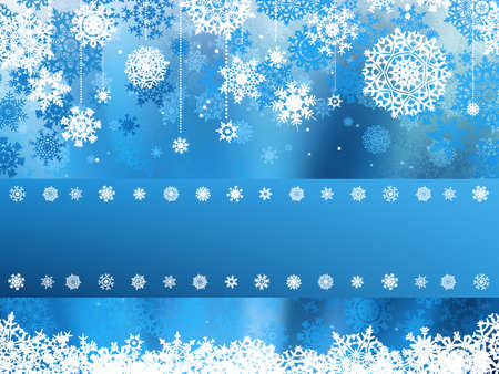 Blue christmas background with christmas flocon de neige Illustration