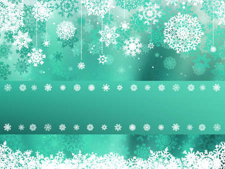 Green christmas background with christmas snowflake Vector