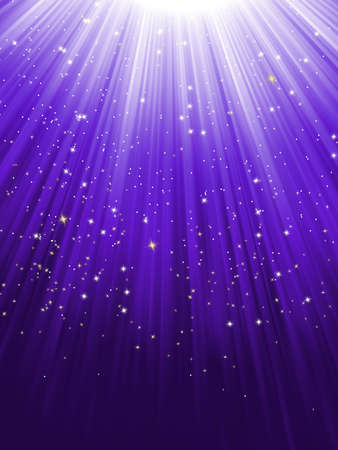 Snow and stars are falling on the background of purple luminous rays Vector