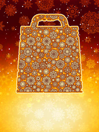 Bag For Shopping With snowflakes, On orange pink Background Stock Vector - 15810041
