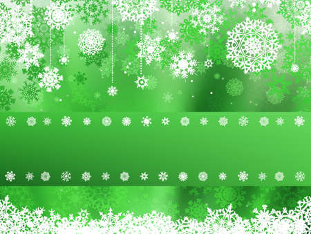 Green christmas background with christmas snowflake.  Vector