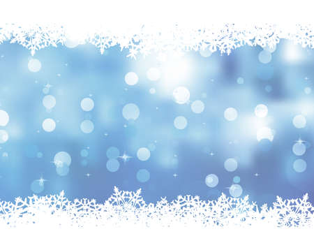 Christmas blue background with snow flakes.  Illustration