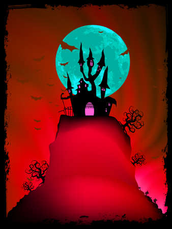 Halloween image with old mansion   Stock Vector - 15899299