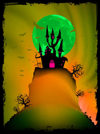 Halloween image with old mansion   Stock Vector - 15899296