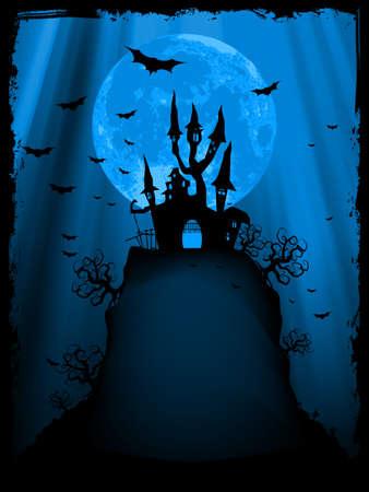 Spooky Halloween composition avec la maison d'horreur et les attributs de vacances populaires