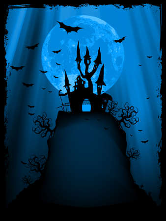 haunted house: Spooky Halloween composition with horror house and popular holiday attributes