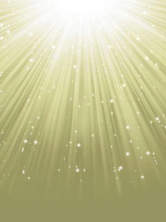 Flocons de neige et étoiles descendant sur un chemin de fichier lumière dorée inclus Illustration