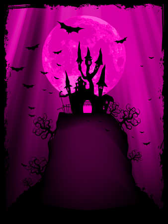 Spooky Halloween composition with horror house and popular holiday attributes   file included Vector