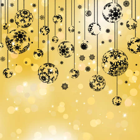 christmas bulbs: Golden christmas bokeh and black balls