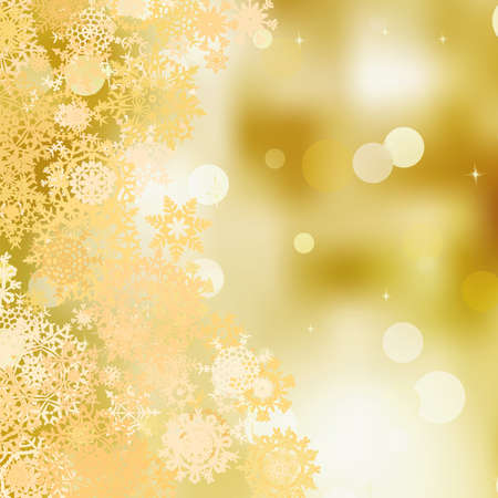Festive gold Christmas abstract background with bokeh lights