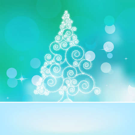 sheltered: Christmas abstract tree on a blue bokeh background