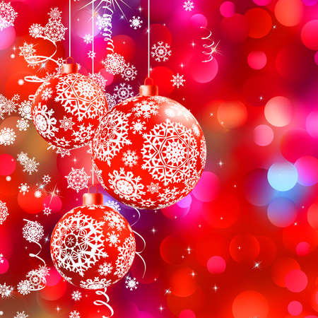 shining star: Christmas bokeh background with baubles