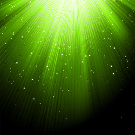 Snow and stars are falling on the background of green luminous rays  EPS 8 vector file included Stock Vector - 16505856