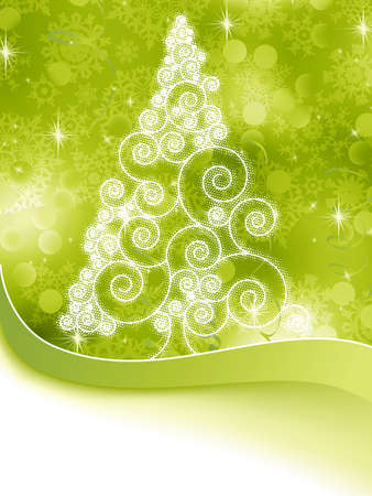 Christmas halftone tree on a green background Stock Vector - 16749593