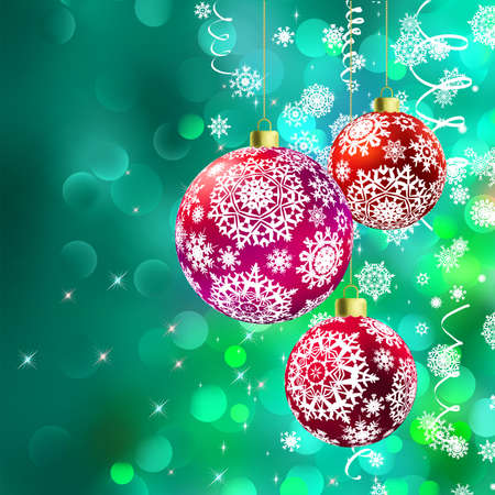 Christmas balls over green bokeh  And also includes vector  Stock Vector - 16850029