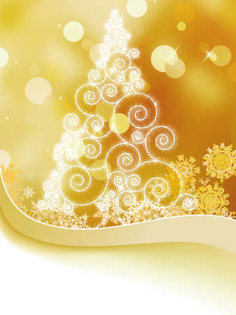 Christmas card with stylized golden glowing   Vector