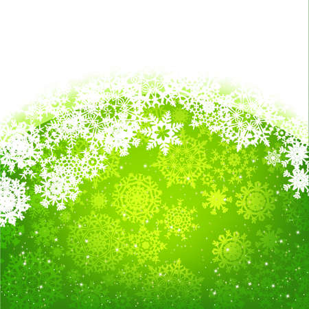 Beautiful green happy Christmas card, winter holiday background Stock Vector - 16884594