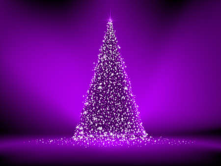 Abstract purple christmas tree on purple  Vector
