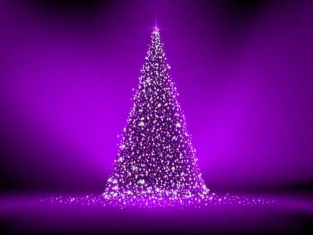 christmas tree purple: Abstract purple christmas tree on purple
