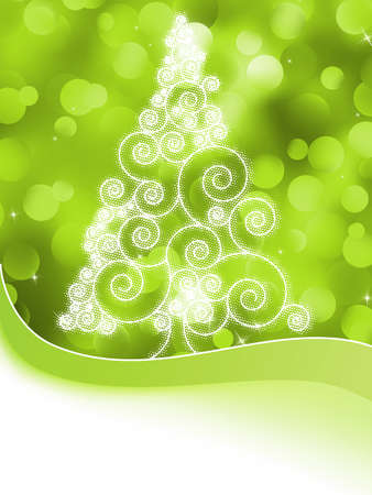 Christmas halftone tree on a green background  Stock Vector - 16948918