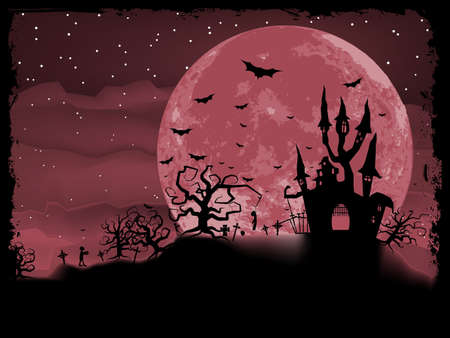 halloween castle: Halloween poster with zombie background