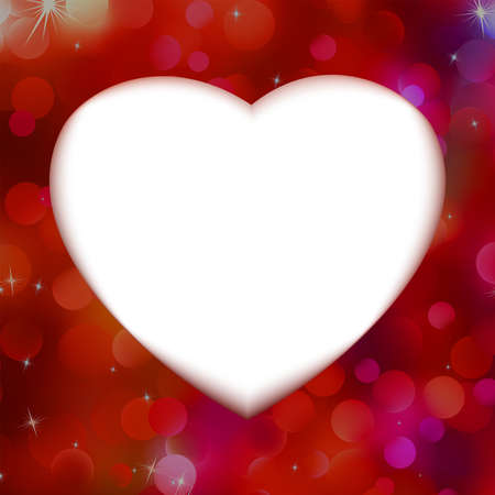 Red bokeh with white heart as background   Vector