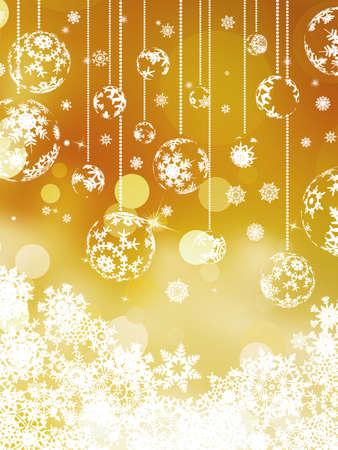 Christmas balls over orange bokeh background Stock Vector - 17047917