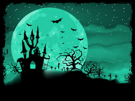 Halloween poster with zombie background  Vector