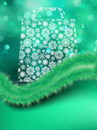 Bag For shopping with snowflakes, on green background Vector