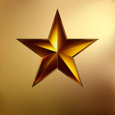 illustration of a Red star on gold background  EPS 8 vector file included  Vector