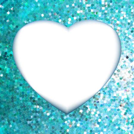 Blue frame in the shape of heart Stock Vector - 17339239