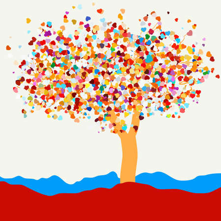 st valentine  s day: Silhouette of a tree with hearts for St  Valentine s Day  EPS 8 vector file included Illustration