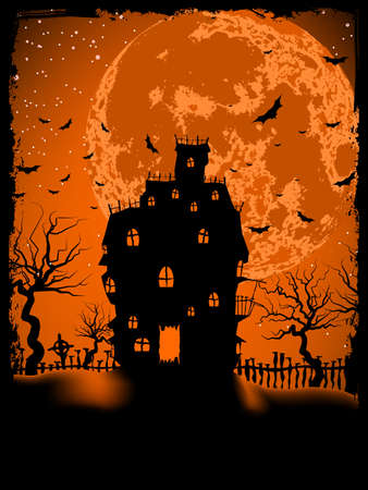 Scary Halloween illustration with magical abbey   Vector