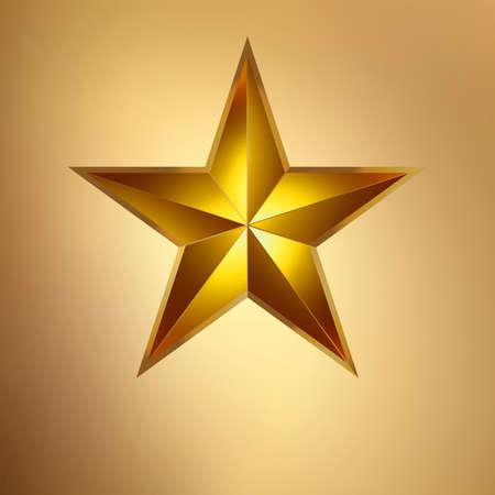 estrellas  de militares: Ilustración de una estrella de oro sobre fondo de oro Vectores